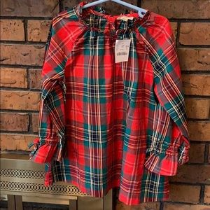 Crewcuts Red Green Plaid Blouse Holiday